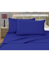 1500 Series 4-Piece Royal Blue Triple Marrow Embroidered Pillowcases Microfiber Full Size Bed Sheet Set