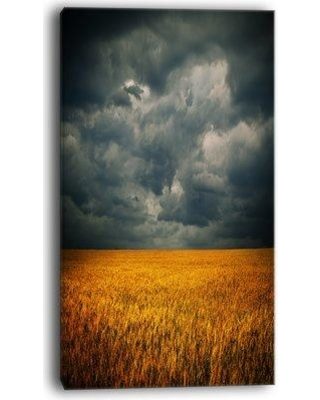 """Design Art Stormy Clouds Over Wheat Field Photographic Print on Wrapped Canvas PT11658- Size: 32"""" H x 16"""" W x 1"""" D"""