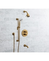 Warby Thermostatic Cross-Handle Bathtub & Hand-Held Shower Faucet Set, Brass Finish