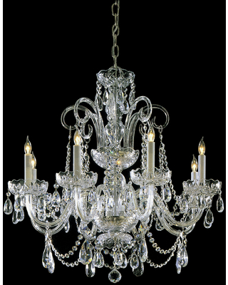 """Crystorama Traditional Crystal 8-Light 27"""" Traditional Chandelier in Polished Brass with Clear Swarovski Strass Crystals"""