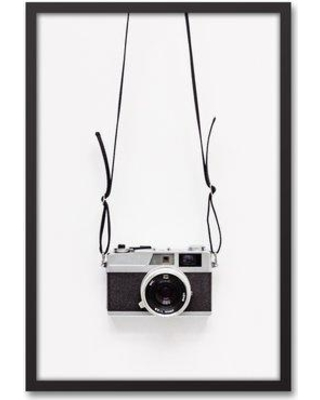 """Mercury Row 'Black And White Vintage Camera' Framed Photograph On Canvas W000255787 Size: 30"""" H x 20"""" W x 1.25"""" D"""