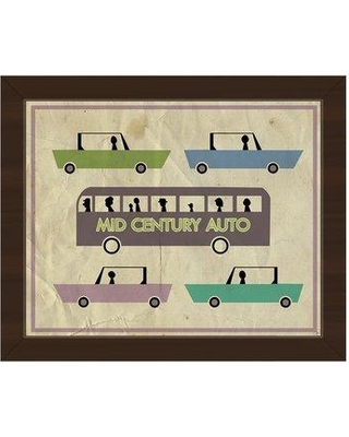 """Click Wall Art Mid Century Auto Green Framed Graphic Art on Canvas RET0000775FRA Frame Color: Espresso Size: 22.5"""" H x 26.5"""" W x 1"""" D"""