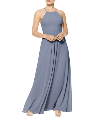Levkoff Halter Neck Chiffon A-Line Gown, Size 6 in Slate at Nordstrom