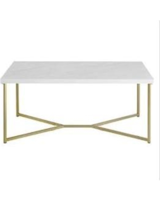 "42"" Y in Leg Coffee Table in White Faux Marble/Gold - Walker Edison AF42LUXWMG"