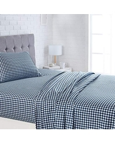 """AmazonBasics Lightweight Super Soft Easy Care Microfiber Bed Sheet Set with 16"""" Deep Pockets - Twin, Gingham Plaid"""