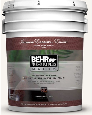 BEHR ULTRA 5 gal. #PWN-10 Decorator White Eggshell Enamel Interior Paint and Primer in One