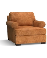 Townsend Roll Arm Leather Armchair, Polyester Wrapped Cushions, Leather Statesville Caramel