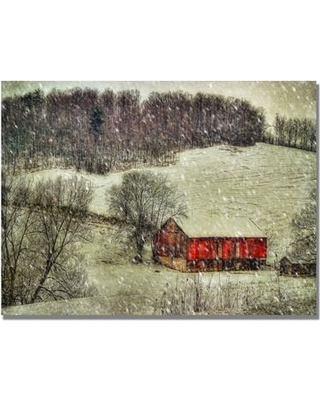 """Trademark Fine Art 'Snowy Cabin' by Lois Bryan Photographic Print on Canvas LBr0182 Size: 18"""" H x 24"""" W x 2"""" D"""