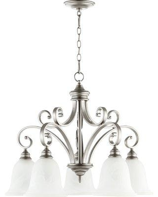 Winston Porter Cambron 5 - Light Shaded Classic / Traditional Chandelier X111469533 Finish: Classic Nickel
