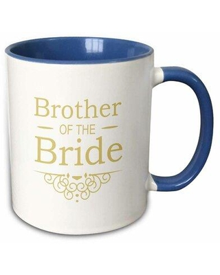 """Winston Porter Robson Mother of The Bride Coffee Mug, Capacity: 11 oz, Theme: Brother of the Bride, Ceramic in Blue/Gold, Size 4""""H X 3""""W X 4""""D"""