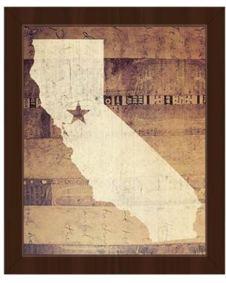 """Click Wall Art 'California Rustic' Framed Graphic Print Art on Canvas in Brown/Tan GRU0000441FRM Size: 22.5"""" H x 18.5"""" W Format: Espresso Framed"""