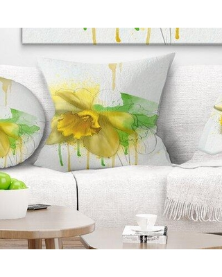 "East Urban Home Floral Narcissus Flower Watercolor Pillow FUSI5947 Size: 18"" x 18"" Product Type: Throw Pillow"