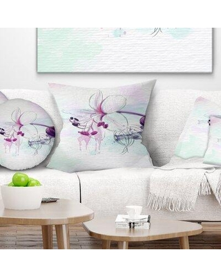 """East Urban Home Floral Beautiful Flower with Splashes Pillow FUSI4280 Size: 18"""" x 18"""" Product Type: Throw Pillow"""