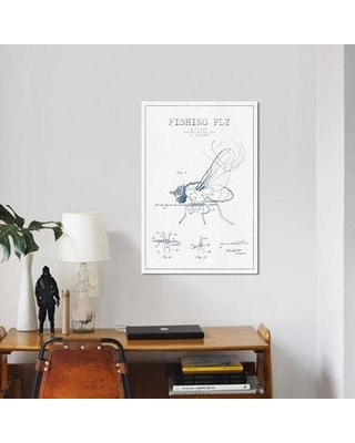 """East Urban Home Ink 'W.D. Kuntz Fishing Fly Patent Sketch' Graphic Art Print on Canvas in White/Blue ERBR0323 Size: 60"""" H x 40"""" W x 1.5"""" D"""
