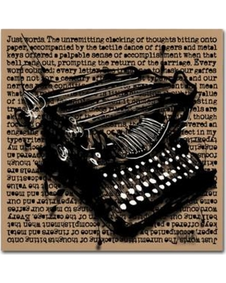 """Trademark Art """"Three-Quarter Typewriter"""" by Roderick Stevens Graphic Art on Wrapped Canvas RS989-C Size: 35"""" H x 35"""" W x 2"""" D"""