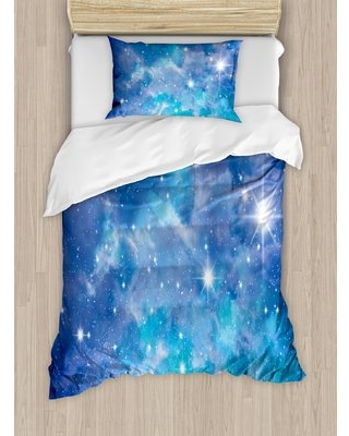 Space Bright Star Clusters Constellation Dusty Deep Interstellar Ethereal Infinity Picture Image Duvet Cover Set East Urban Home Size: Twin