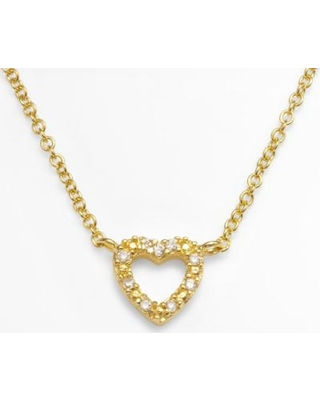 """""""Sophie Miller 14k Gold Over Silver Cubic Zirconia Heart Link Necklace, Women's, Size: 18"""", White"""""""