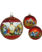 G Debrekht Holiday Splendor Guarding Light Iconic Nativity Ball Limited Edition Scenic Glass Ornament 73860