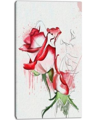 "Design Art 'Fantastic Red Roses Watercolor' Painting Print on Wrapped Canvas PT13678- Size: 32"" H x 16"" W x 1"" D"