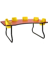 """Toddler Tables Kid's 7 Piece Novelty Activity Table & Chair Set TT6 Size: 27"""" H x 72"""" L x 48"""" W Seat Color: Red Table Top Color: Light Oak"""