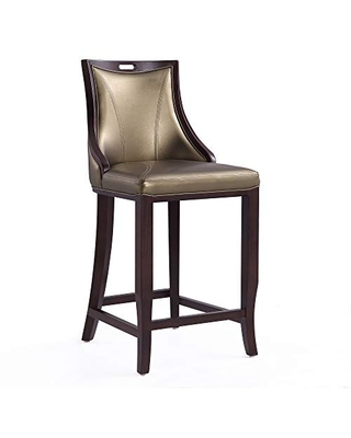 """Manhattan Comfort Emperor Mid Century Modern Faux Leather Upholstered Barstool with High Backrest, 19"""", Single, Bronze"""