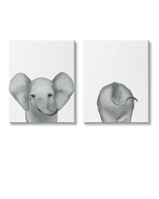 Stupell Industries Baby Elephant Front and Behind Children's Zoo Animals Canvas Wall Art Design by Ziwei Li