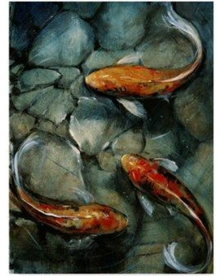 "World Menagerie 'Tres Koi I' Acrylic Painting Print on Wrapped Canvas XSNF3432 Size: 19"" H x 14"" W x 2"" D"