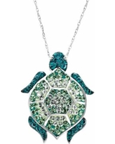 Artistique Sterling Silver Crystal Turtle Pendant - Made with Swarovski Crystals, Women's, Green