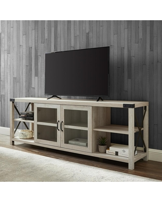 Welwick Designs 70 in. White Oak Composite TV Stand Fits TVs Up to 78 in. with Storage Doors