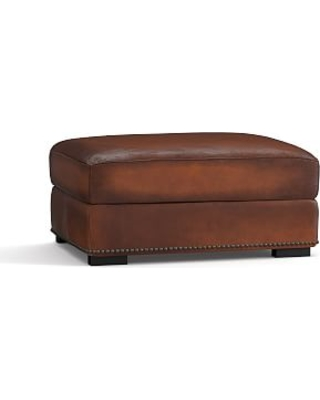 Pleasant Turner Leather Storage Ottoman With Bronze Nailheads Polyester Wrapped Cushions Burnished Saddle From Pottery Barn People Theyellowbook Wood Chair Design Ideas Theyellowbookinfo