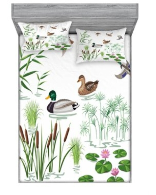 Lake Animals and Plants with Lily Flowers Reeds Cane in the Pond Sheet Set