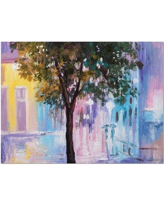 """Design Art Couple Walking in Rain Abstract Landscape Painting Print on Wrapped Canvas, Canvas & Fabric in Purple/Green, Size 30"""" H x 40"""" W x 1"""" D"""