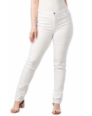 Plus Size Women's Straight-Leg Jean With Invisible Stretch By Denim 24/7 by Roaman's in White Denim (Size 32 T)