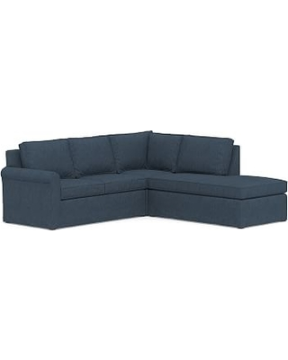 Cameron Roll Arm Slipcovered Left 3-Piece Bumper Sectional, Polyester Wrapped Cushions, Performance Heathered Tweed Indigo