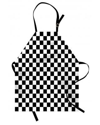 Checkers Game Apron East Urban Home Color: Black