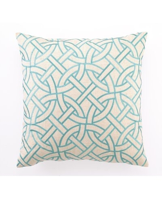Huge Deal On Bevin Embroidered Circle Link Linen Throw Pillow Wrought Studio Color Turquoise