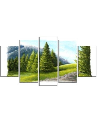 Design Art 'Road in Green Mountains' 5 Piece Photographic Print on Wrapped Canvas Set, Canvas & Fabric in Brown/Green | Wayfair PT11169-373