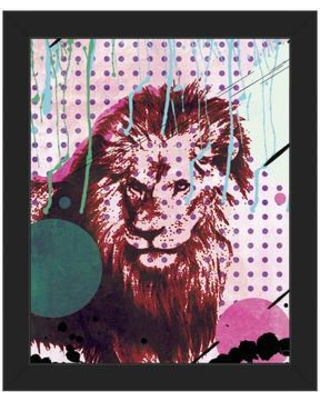 """Click Wall Art 'The Fearless King' Framed Graphic Art CBS0000170F Format: Black Framed Size: 26.5"""" H x 22.5"""" W"""