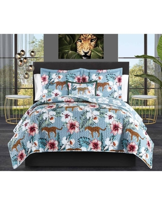 King 8pc Orietta Bed In A Bag Quilt Set Blue - Chic Home Design