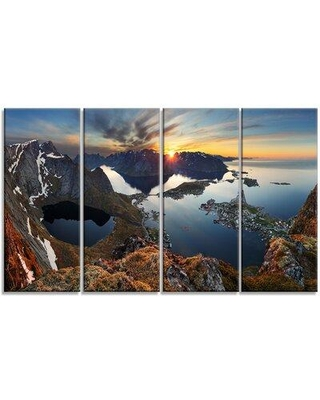 Design Art 'Rocky Sea Mountains' 4 Piece Wrapped Canvas Photographic Print Set on Canvas PT9047-271
