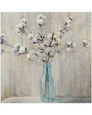 """Gracie Oaks 'Cotton Bouquet in Bottle' Acrylic Painting Print on Wrapped Canvas GCEO1573 Size: 18"""" H x 18"""" W x 2"""" D"""