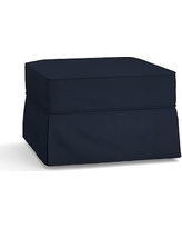 Buchanan Slipcovered Ottoman, Polyester Wrapped Cushions, Twill Cadet Navy