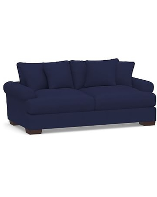 """Sullivan Deep Roll Arm Upholstered Sofa 88"""", Down Blend Wrapped Cushions, Performance Twill Cadet Navy"""