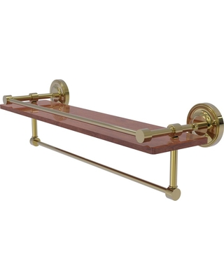 Allied Brass Prestige Regal Collection 22 in. IPE Ironwood Shelf with Gallery Rail and Towel Bar in Unlacquered Brass