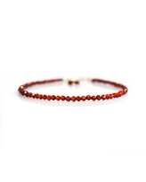 Natural Red Garnet Chips Bracelet Birthday Gemstone Jewelry 8 inch AAA+ Quality Gift for Her Energy Healing Crystals