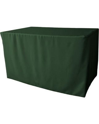 LA Linen 48 in. L x 30 in. W x 30 in. H Hunter Green Polyester Poplin Fitted Tablecloth