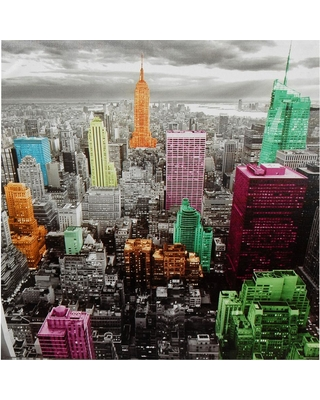 "Oriental Furniture 32 in. x 24 in. ""High-Lights of New York Skyline"" Canvas Wall Art, Multi"