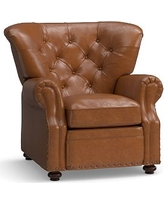 Lansing Leather Recliner, Polyester Wrapped Cushions, Vintage Caramel