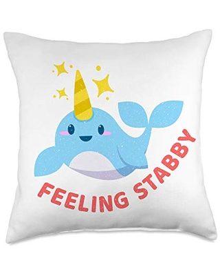 Unicorn of the Sea - Narwhal Party Apparel Funny Narwhal Feeling Stabby Unicorn Of The Sea Gift Throw Pillow, 18x18, Multicolor