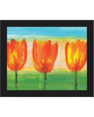 """Click Wall Art 'Three Tulips' Framed Painting Print on Canvas FLR0000446FRA Size: 13.5"""" H x 16.5"""" W x 1"""" D Frame Color: Black"""